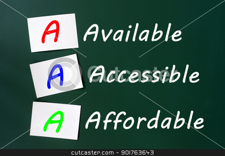 Acronym of AAA for available, accessible and affordable  stock photo, Acronym of AAA for available, accessible and affordable written on a blackboard  by John Young
