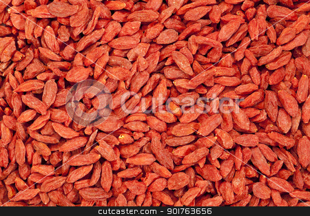 dried Tibetan goji berries stock photo, background of dried red Tibetan goji berries (wolfberry) - superfruit by Marek Uliasz