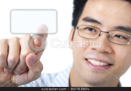 Access here stock photo, Asian business man pressing a touchscreen button  by szefei