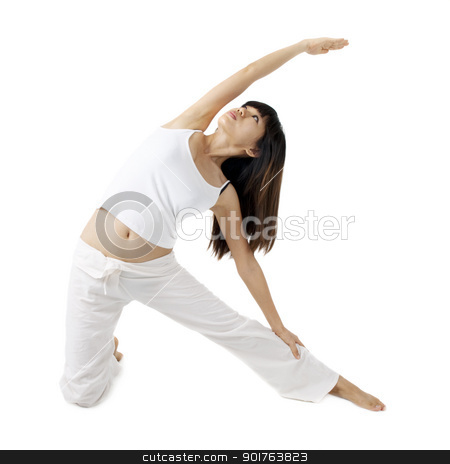Yoga stock photo, Woman in yoga, gate Pose, isolated on white. by szefei