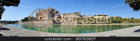Mallorca Cathedral Panorama stock photo, Panorama view of Cathedral Le Seu, Palma de Mallorca, Spain by ruigsantos