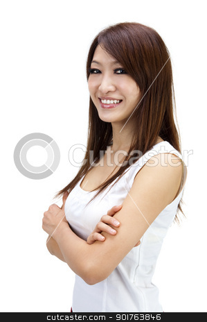 Casual Young Woman stock photo, Arms crossed Asian Female isolated on white background by szefei