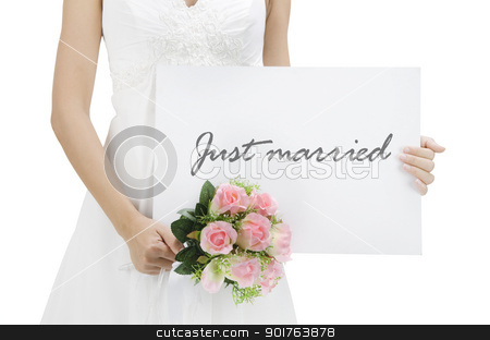 Just married stock photo, Bride holding a just married card by szefei