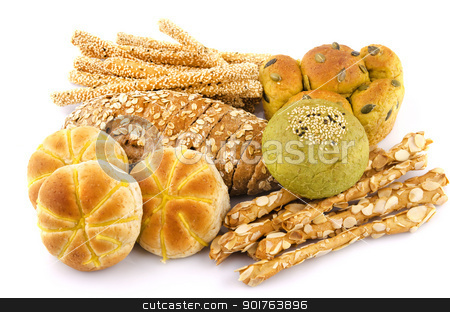 Variety of Breads stock photo, Variety of Organic Breads on white background by szefei