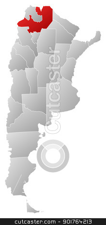 Map of Argentina, Salta highlighted stock vector clipart, Political map of Argentina with the several provinces where Salta is highlighted. by Schwabenblitz