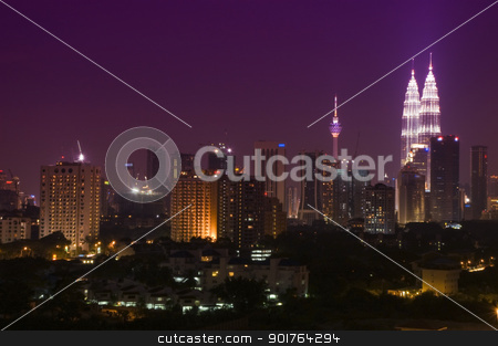 Kuala Lumpur malaysia stock photo, Night view of Kuala Lumpur. Kuala Lumpur is the capital and the largest city of Malaysia. by szefei