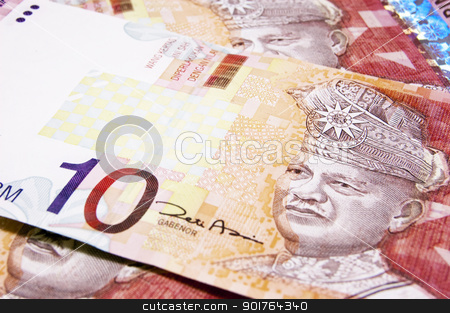 Malaysian Ringgit stock photo, Close up on papernotes Malaysian 10 Ringgit by szefei