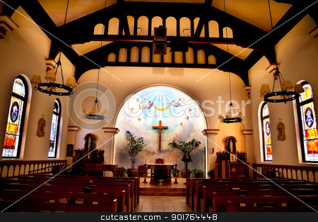 Altar Interior Cross Immaculate Conception Church Old San Diego  stock photo, Altar Interior Old Immaculate Conception Church Old San Diego California  Historic Adobe Church built originally in 1851.  The Old Adobe Church was restored and reopened in 1917.   by William Perry