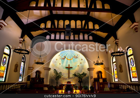 Immaculate Conception Church Old San Diego Town California  stock photo, Old Immaculate Conception Church Old San Diego California  Historic Adobe Church built originally in 1851.  The Old Adobe Church was restored and reopened in 1917.   by William Perry