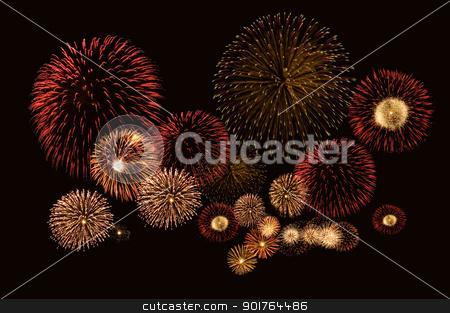 Fireworks cluster stock photo, Beautiful fireworks on black background by szefei