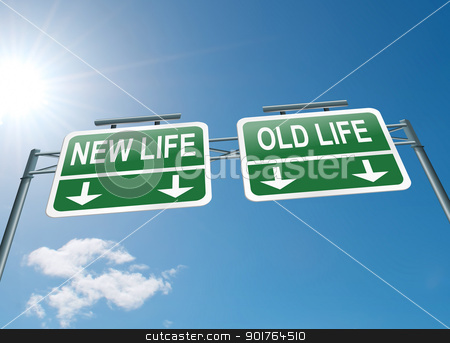 New or old life. stock photo, Illustration depicting a highway gantry sign with a new life or old life concept. Blue sky background. by Samantha Craddock