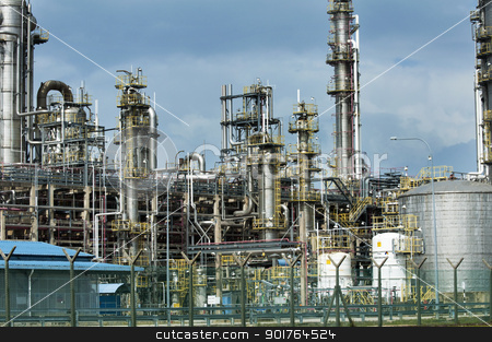 Oil refinery stock photo, Oil refinery industry building in Malaysia, Asia by szefei