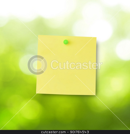 Sticky Note stock photo, Sticky note over window with green view by szefei