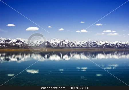 mountain lake in winter    stock photo, mountain lake in winter    by szefei