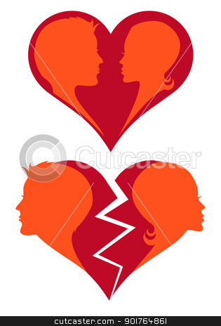 love and broken heart, vector stock vector clipart, man and woman in love and broken heart, vector illustration by Beata Kraus