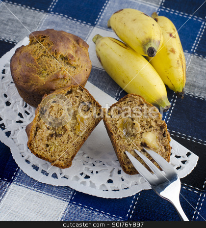 Banana muffins stock photo, Delicious fresh baked banana muffins, with raisins and walnuts, dairy free suitable for vegan by szefei