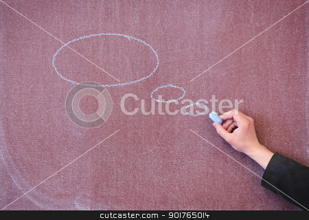 Chalk board with painted ovals. stock photo, Drawn in chalk on blackboard ovals with space for text. by Borys Shevchuk