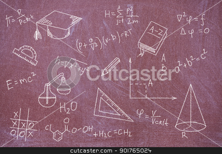 Formulas and equations written on blackboard. stock photo, Blackboard chalk painted with formulas, equations and school tools. by Borys Shevchuk