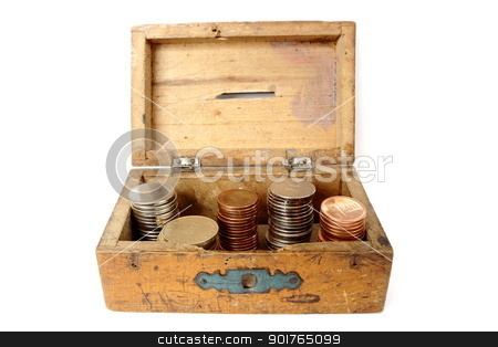 old wooden moneybox stock photo, very old wooden moneybox filled with romanian currency by coroiu octavian