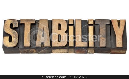stability word in letterpress type stock photo, stability - isolated word in vintage letterpress wood type by Marek Uliasz