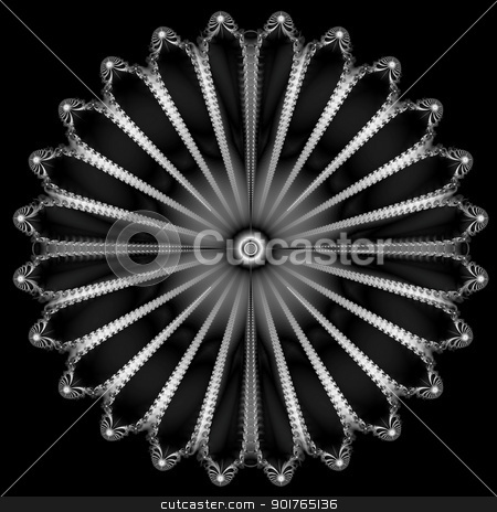 Silver Button stock photo, Digital abstract fractal image with a circular design in black and white isolated on a black background by Colin Forrest