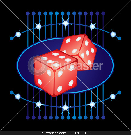 Gambling neon stock vector clipart, Symbol of two dices on shining neon by oxygen64