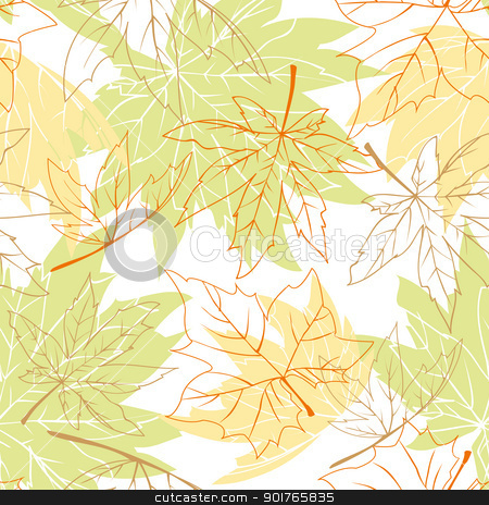Colorful autumn leaves seamless pattern stock vector clipart, Colorful autumn leaves seamless pattern by meikis