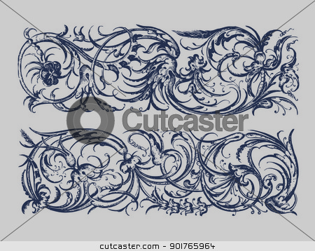 Baroque Borders stock vector clipart, Baroque style vintage floral ornaments in pastel colors by HypnoCreative