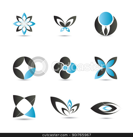 Blue logo elements stock vector clipart, 9 pieced of elegant and modern blue logo elements set by HypnoCreative