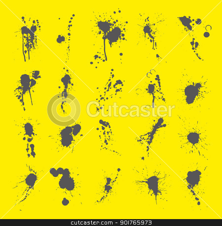 Collection of Ink Splatters stock vector clipart, 20 pieces of ink splatters, gray on yellow background by HypnoCreative