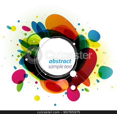 Color Burst Background stock vector clipart, Modern copy space with colorful bursting circles and bubbles by HypnoCreative