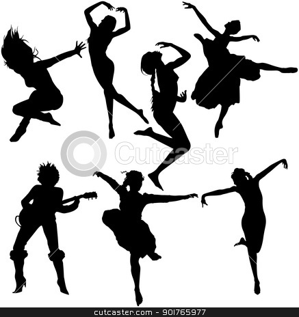Dancing Women Silhouettes stock vector clipart, A set of dancing women silhouettes isolated by HypnoCreative
