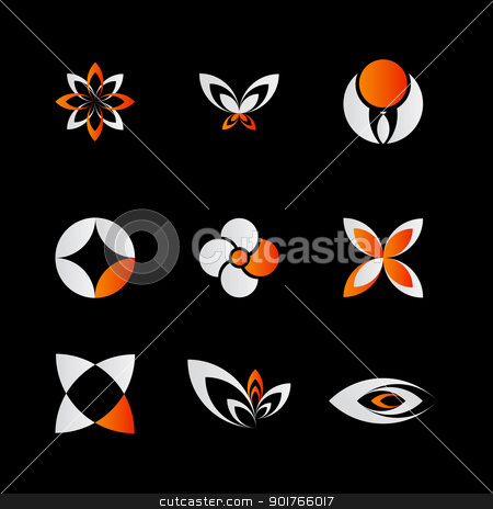 orange logo elements stock vector clipart, 9 pieced of elegant and modern orange logo elements set on black by HypnoCreative