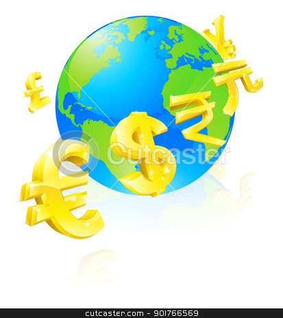 Currencies signs globe concept stock vector clipart, International currency signs flying around a world globe by Christos Georghiou