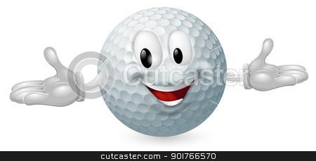 Golf Ball Mascot stock vector clipart, Illustration of a cute happy golf ball mascot man by Christos Georghiou