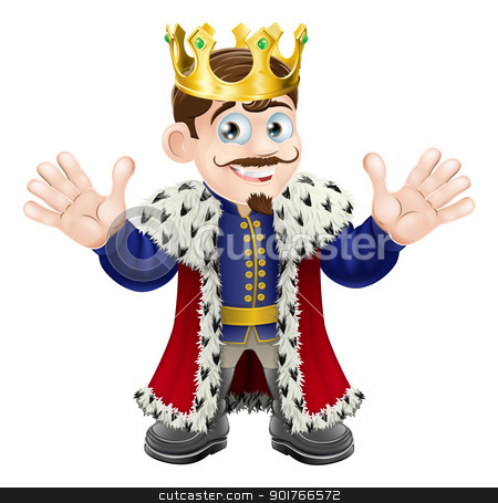 Cute king man stock vector clipart, A fun King illustration with gold crown happily waving with both hands by Christos Georghiou