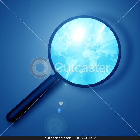 world map stock photo, world map with magnifying glass by Janaka Dharmasena