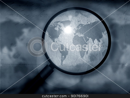Vintage world map stock photo, Vintage world map with magnifying glass by Janaka Dharmasena