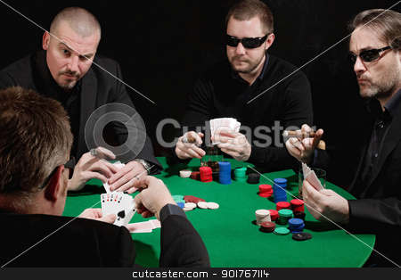 Serious card game stock photo, Photo of four men playing poker, smoking cigars and drinking whiskey. Focus is on the winning hand. by © Ron Sumners