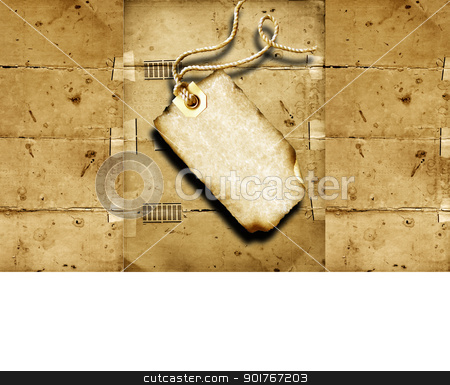 Black price tag stock photo, Black price tag with old textured background  by Janaka Dharmasena