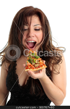 Eating Pizza stock photo, A woman eating a slice of delicious pizza.   by Leah-Anne Thompson