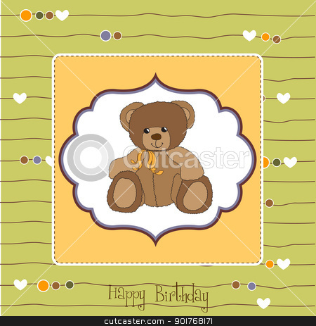 happy birthday card stock vector clipart, happy birthday card by balasoiu