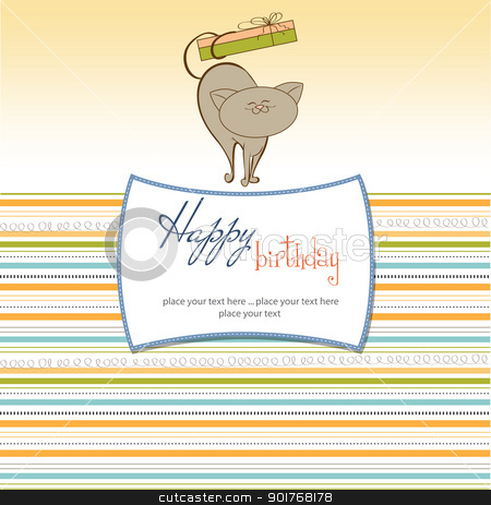 birthday card with little cat stock vector clipart, birthday card with little cat by balasoiu