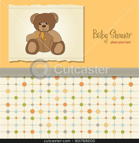 baby shower card with teddy bear toy stock vector clipart, baby shower card with teddy bear toy by balasoiu