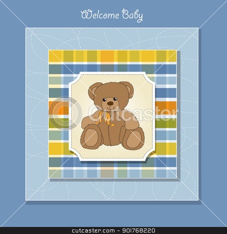 new baby announcement card with teddy bear stock vector clipart, new baby announcement card with teddy bear by balasoiu