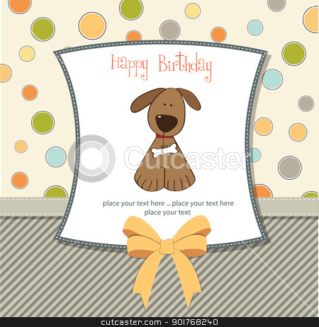 Dog birthday card gangcraft birthday card with dog stock vector birthday card bookmarktalkfo Images