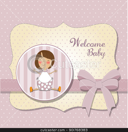 new baby girl announcement card stock vector clipart, new baby girl announcement card by balasoiu