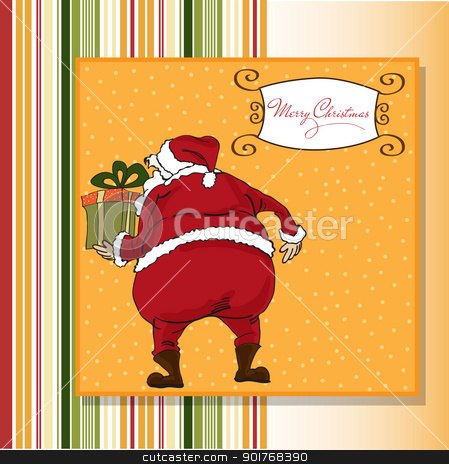 Christmas greeting card with Santa stock vector clipart, Christmas greeting card with Santa by balasoiu
