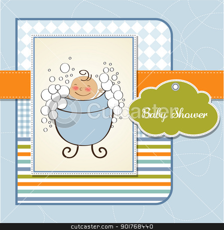 baby boy shower card stock vector clipart, baby boy shower card by balasoiu