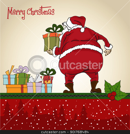 Santa Claus, Christmas greeting card stock vector clipart, Santa Claus, Christmas greeting card by balasoiu